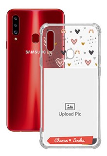 Love Pattern For Galaxy A20S Your Photo on Transparent Mobile Cases