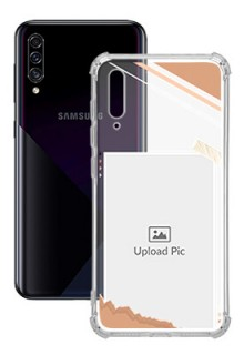 Peach Colour Photo Frame with Name For Galaxy A50 Customized Transparent Mobile Cases