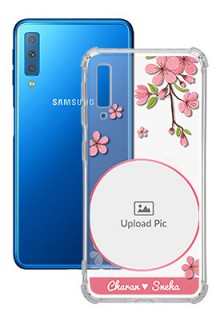 Pink Floral Single image with Name For Galaxy A7 (2018) Personalised Transparent Clear Phone Case