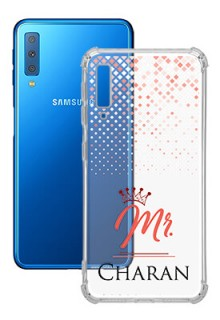Triangle Dotted Design with Mr Text For Galaxy A7 (2018) Your Photo on Transparent Mobile Cases