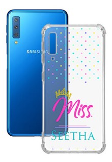 Dotted Design with Miss Text For Galaxy A7 (2018) Custom Transparent Clear Phone Case