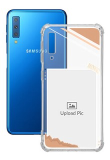 Peach Colour Photo Frame with Name For Galaxy A7 (2018) Customized Transparent Mobile Cases