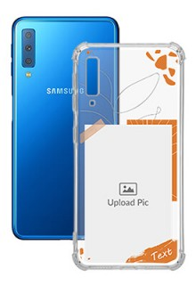 Orange Photo Frame For Galaxy A7 (2018) Your Photo on Transparent Mobile Cases