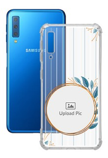 Blue Leaves Design For Galaxy A7 (2018) Custom Transparent Clear Phone Case