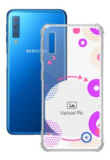 Purple Coloured Round For Galaxy A7 (2018) Personalised Transparent Clear Phone Case