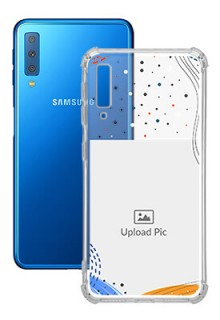 Wave Lines Dotted For Galaxy A7 (2018) Your Print on Transparent Phone Cases