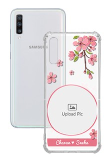 Pink Floral Single image with Name For Galaxy A70 Personalised Transparent Clear Phone Case
