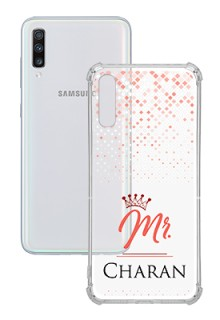 Triangle Dotted Design with Mr Text For Galaxy A70 Your Photo on Transparent Mobile Cases