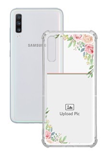 Floral Design Theme For Galaxy A70 Your Photo on Transparent Mobile Cases