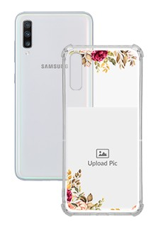 Floral Design For Galaxy A70 Custom Transparent Clear Phone Case