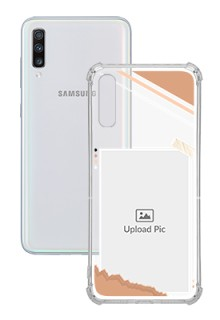 Peach Colour Photo Frame with Name For Galaxy A70 Customized Transparent Mobile Cases