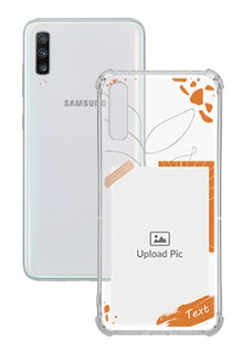 Orange Photo Frame For Galaxy A70 Your Photo on Transparent Mobile Cases