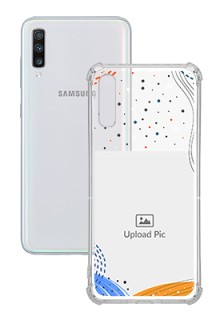 Wave Lines Dotted For Galaxy A70 Your Print on Transparent Phone Cases