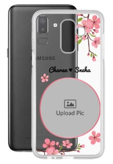 Pink Floral Single image with Name For Galaxy J8 (2018) Personalised Transparent Clear Phone Case