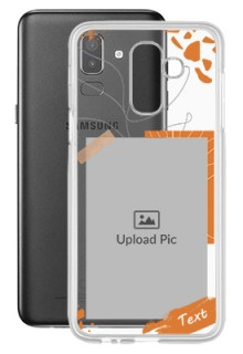 Orange Photo Frame For Galaxy J8 (2018) Your Photo on Transparent Mobile Cases