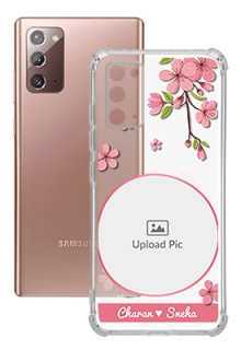 Pink Floral Single image with Name For Galaxy Note 20 Personalised Transparent Clear Phone Case