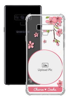 Pink Floral Single image with Name For Galaxy Note 9 Personalised Transparent Clear Phone Case