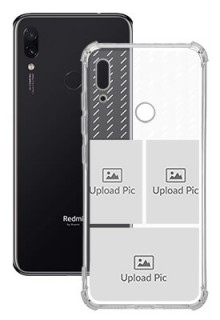 3 images with Text For Redmi Note 7 Custom Transparent Clear Phone Case