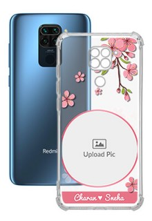 Pink Floral single image with Name For Redmi Note 9 Personalised Transparent Clear Phone Case