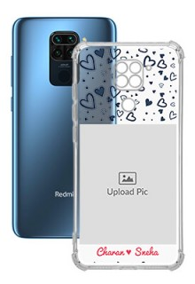 Blue Love Theme with Name For Redmi Note 9 Customized Transparent Mobile Cases