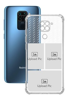 3 images with Text For Redmi Note 9 Custom Transparent Clear Phone Case