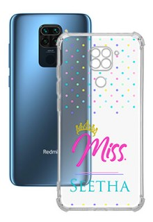 Dotted Design with Miss Text For Redmi Note 9 Custom Transparent Clear Phone Case