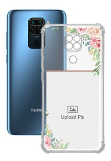 Floral Design Theme For Redmi Note 9 Your Photo on Transparent Mobile Cases